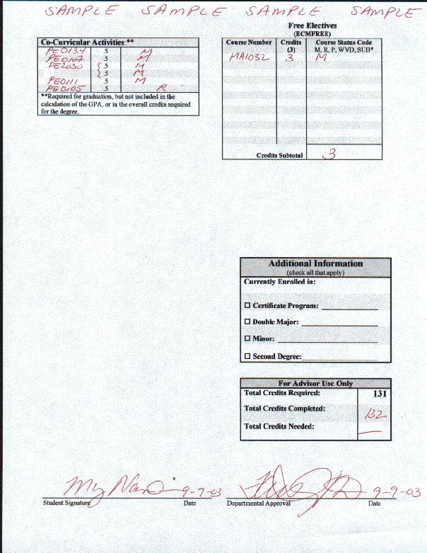 Example Degree Audit CM