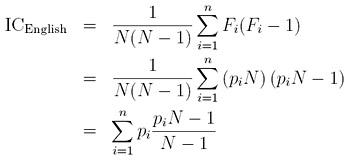 Formula for the index of coincidence